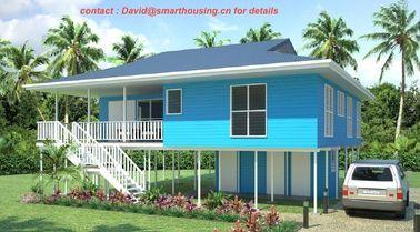 Porcellana Bungalow prefabbricato a due piani a prova di fuoco della spiaggia, bungalow domestici blu della spiaggia distributore